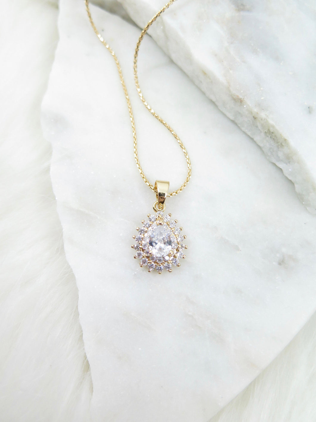 Tear Drop Cubic Zirconia Necklace