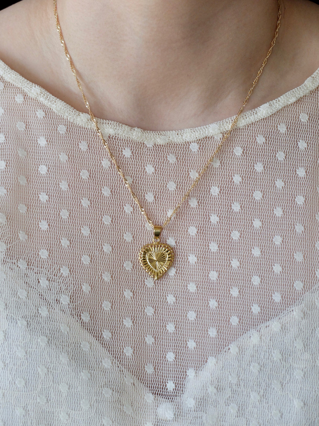 Gold Heart Medal Necklace
