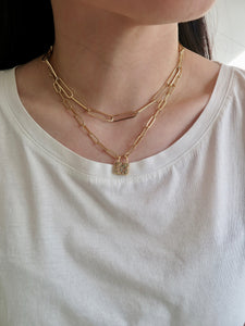 Lock Paperclip Chain Necklace