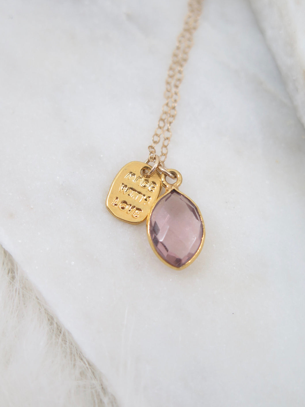 Morganite + Bar Gold necklace