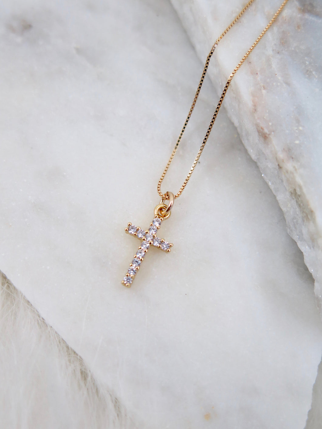 Dainty CZ Cross Necklace