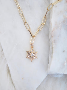 CZ Star Paperclip Chain Necklace