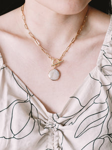 Pearl Paperclip Chain Necklace
