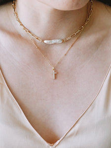 Long Pearl Paperclip Chain Necklace