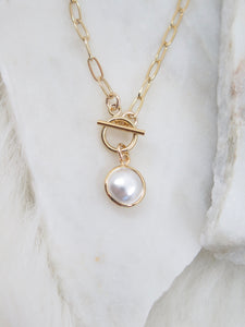 Tiny Pearl Paperclip Chain Necklace
