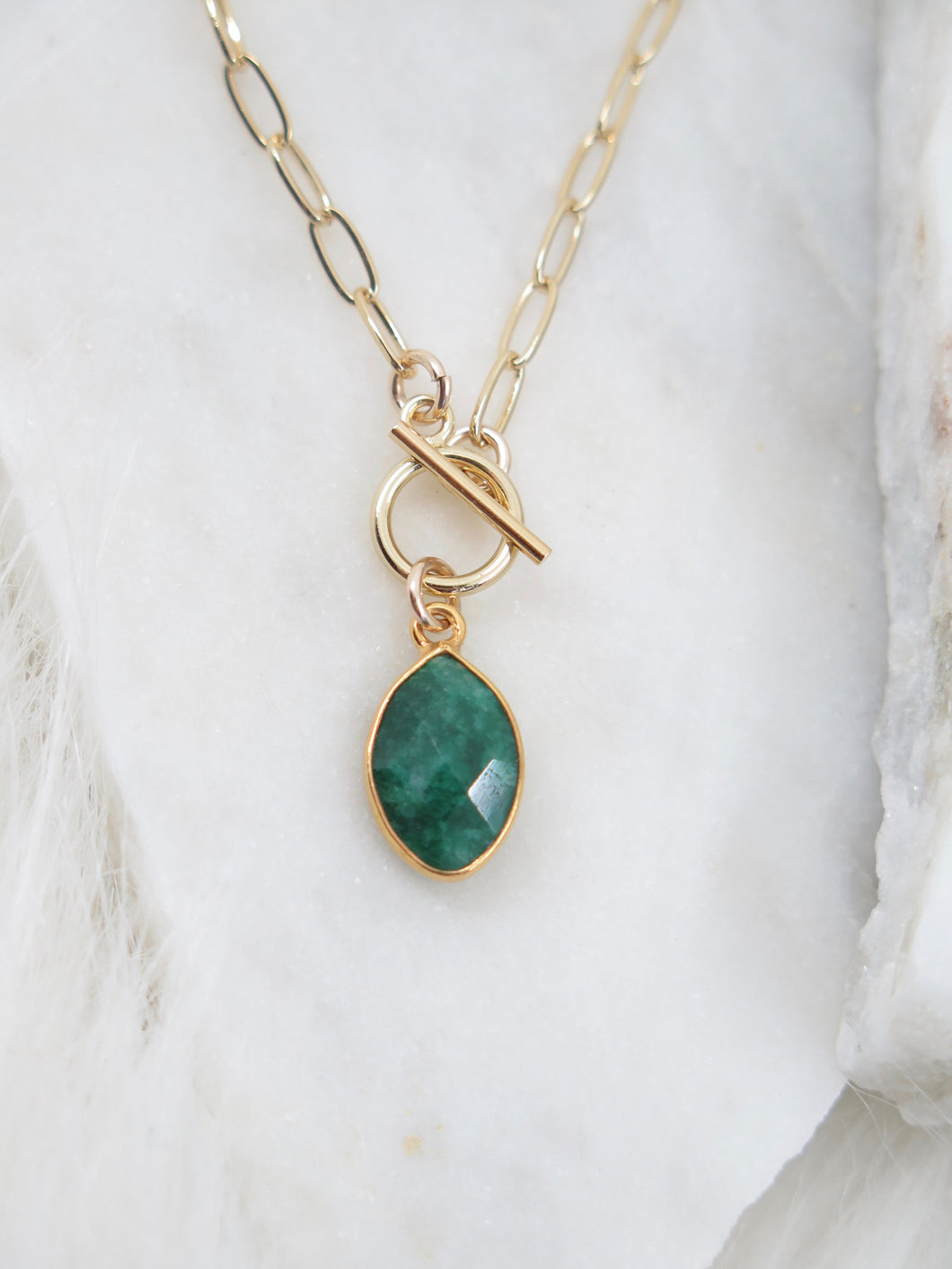 Emerald Gold Paperclip Chain Necklace