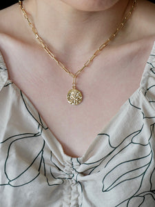 Gold Coin Rose Necklace