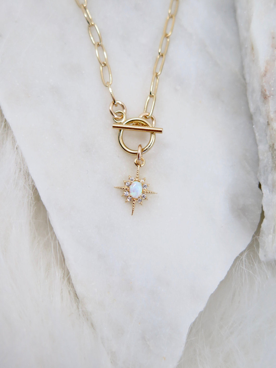 North Star Opal Paperclip Chain Necklace