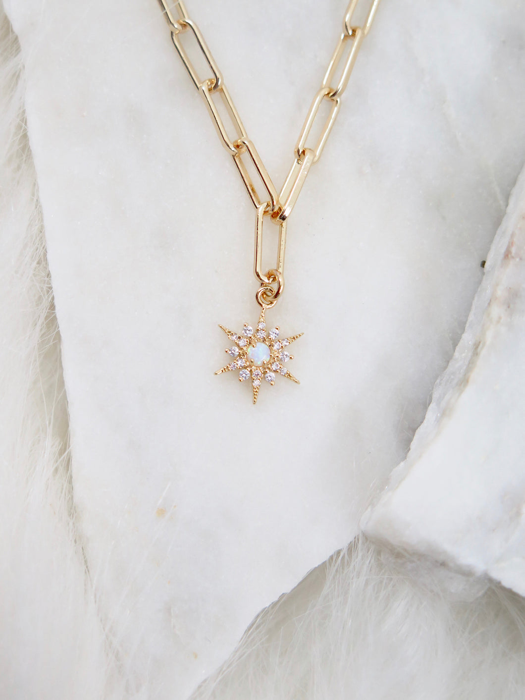 Opal Star Paperclip Chain Necklace
