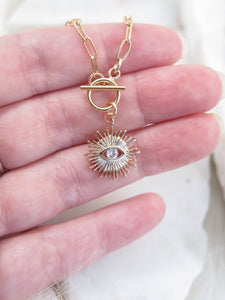 Evil Eye Paperclip Chain Necklace