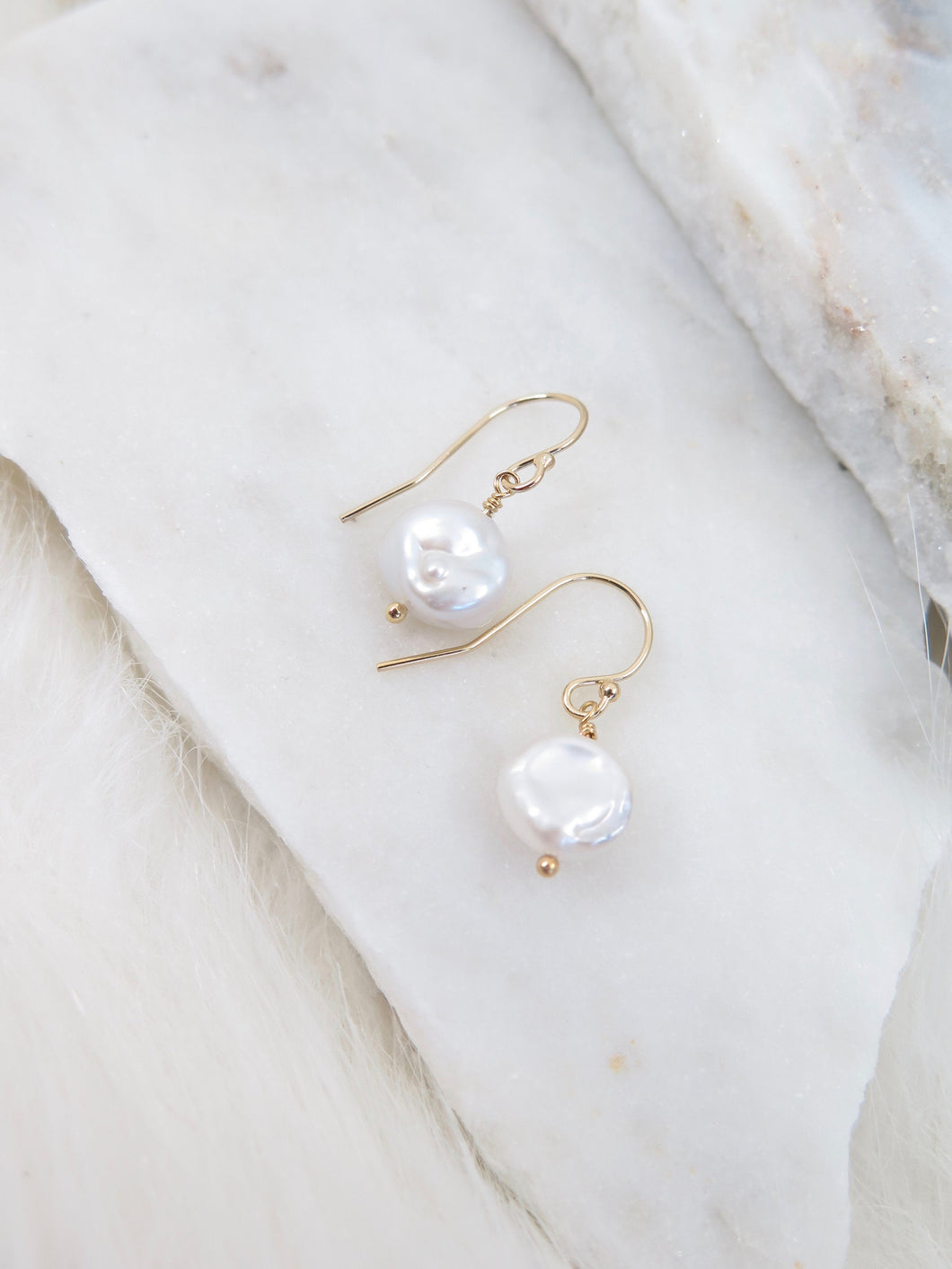 Tiny Pearl Dangle Earrings