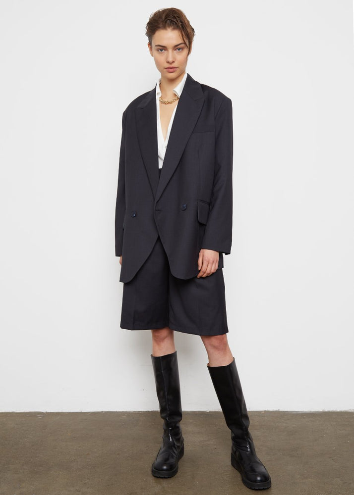 Oversized Blazer- Charcoal Blue