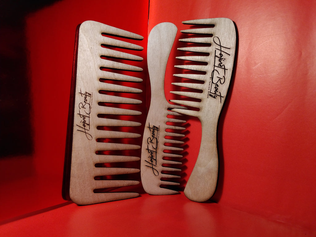 Detangling Wooden Wide Tooth Comb set