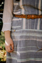 Load image into Gallery viewer, Handwoven Bina Dress in Rose, Sage and Blue Stripes