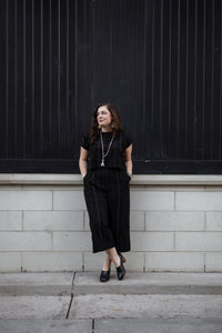 Handwoven Cotton Katie Crop Set in Black - Pre-order