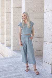Handwoven Cotton Katie Crop Set in Silver