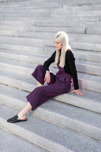 Handwoven Cotton Dilsi Overalls in Plum