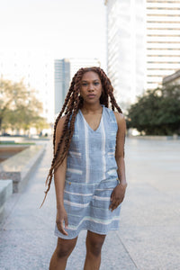 Handwoven Bina Dress in Rose, Sage and Blue Stripes