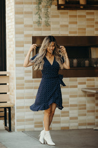 Rita Wrap Dress in Lightweight Recycled Rayon Polka-Dot