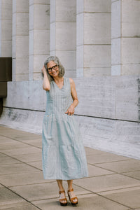 Handwoven Bina Maxi Dress in Light Blue
