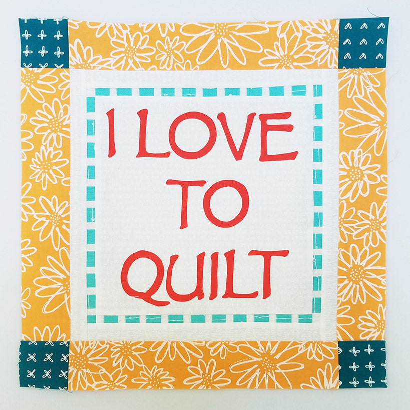 I Love to Quilt Block.