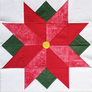 Poinsettia Quilt Block Pattern, Digital Download