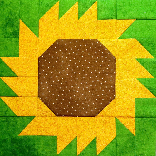 Sunflower Quilt Block Pattern, Digital Download