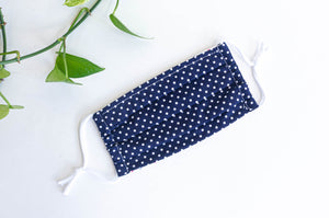 Cotton cloth face mask, White Polka Dots on Navy Ground
