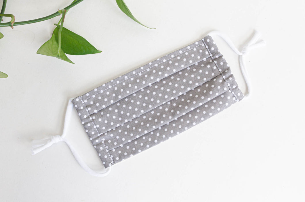 Cotton cloth face mask, White Polka Dots on Grey ground