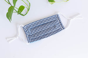 Cotton cloth face mask, Blue Checks