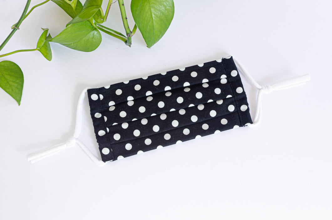 Pleated Cotton cloth face mask, White Polka Dots on Black Ground