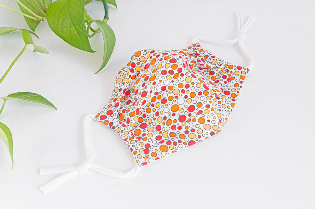 Cotton cloth Pleated face mask with Orange Bubbles printed pattern