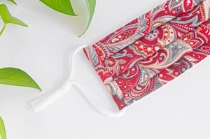 Close up of Cotton cloth face mask, Red Paisley pattern