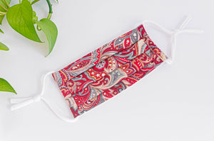 Cotton cloth face mask, Red Paisley