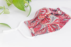Opened Cotton cloth face mask, Red Paisley pattern