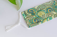 Load image into Gallery viewer, Close up of Cotton cloth face mask, Green Paisley pattern