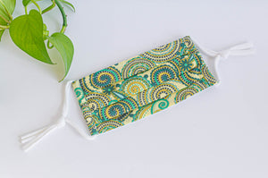 Cotton cloth face mask, Green Paisley pattern