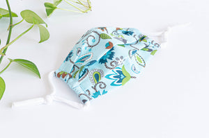 Opened Cotton cloth face mask, Blue Floral pattern
