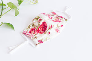 Opened Cotton cloth face mask, Pink Flowers pattern on Ivory ground