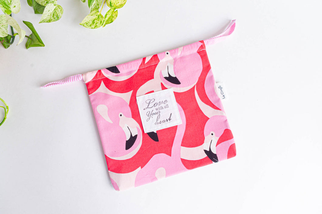 Beach bag with flamingo all over print