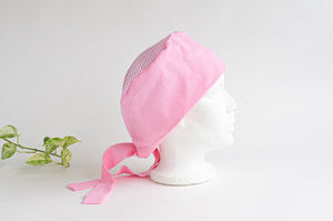 Side view of Cotton Cloth Scrub Hat, Pink Stripes & Dots pattern