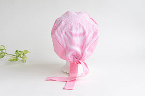 Rear View of Cotton Cloth Scrub Hat, Pink Stripes & Dots pattern