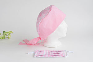 Cotton Cloth Scrub Hat, Pink Stripes & Dots pattern with Matching Pink Stripes Face Mask
