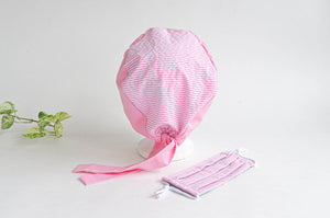 Rear View Cotton Cloth Scrub Hat, Pink Stripes & Dots pattern with Matching Pink Stripes Face Mask