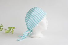 Load image into Gallery viewer, Right Side view of scrub hat with Aqua Stripes on White