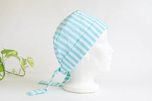 Right Side view of Scrub hat Aqua Stripes on White