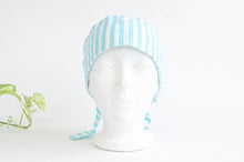 Load image into Gallery viewer, Front view of scrub hat with Aqua Stripes on White