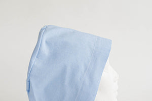 Closeup of a Blue Cloth Scrub hat