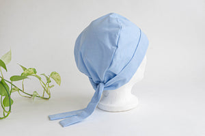 Back view of a Blue Cloth Scrub hat