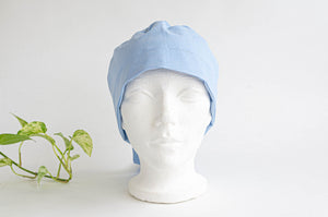 Front view of a Blue Cloth Scrub hat